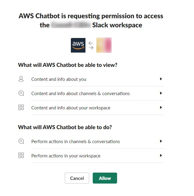awslagi.com-aws chatbot requesting permission to access your slack work space