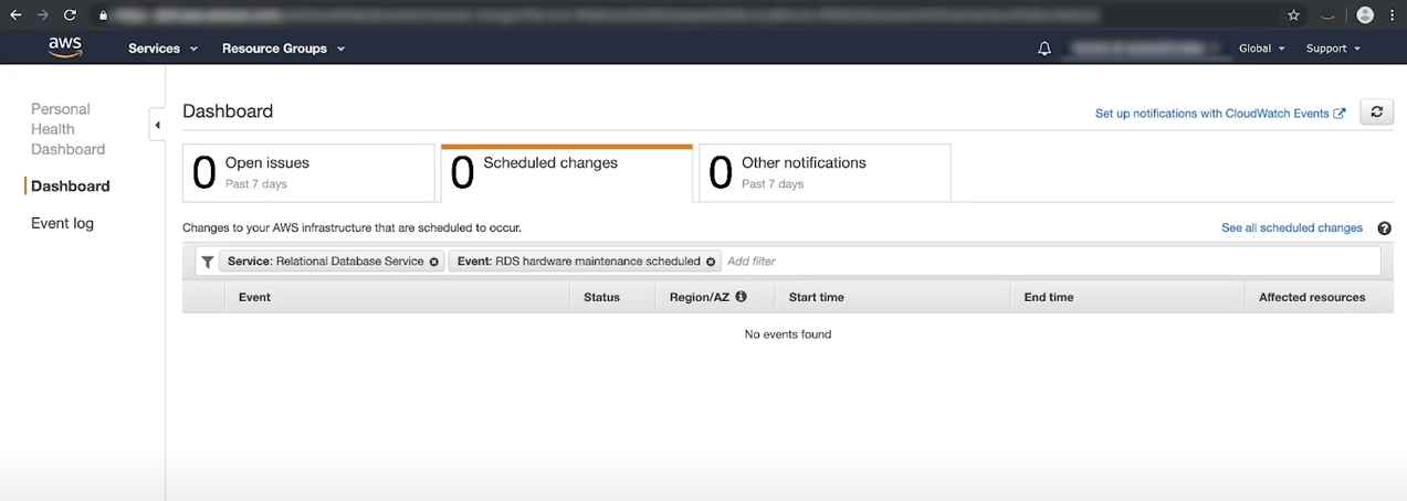 awslagi.com-using amazon personal dashboard to check pending maintenance events