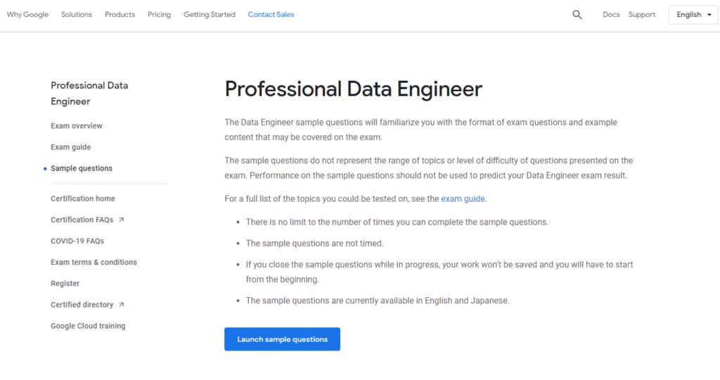 google cloud data engineer practice exam